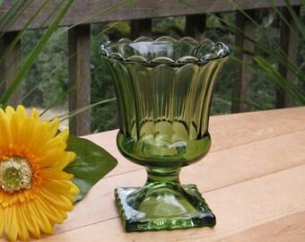 Avocado Green Pedestal Vase - Ribbed Scalloped - Oak Hill Vintage