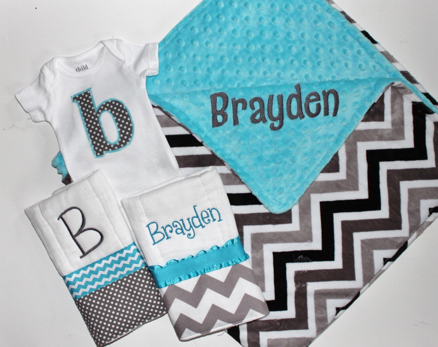 Personalized DOUBLE MINKY CHEVRON Baby Boy Blanket or Lovey