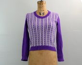 70s sweater / purple sweater / 1970s sweater / stripe sweater