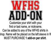 WFHS swim & dive Custom Name Add-on