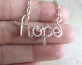 Hope Necklace Silver Wire Wrapped Necklace Inspirational Wire Word Jewelry Personalized Necklace Wire Wrap Jewelry Gifts under 20