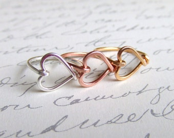 Heart Ring, Handcrafted Wire Heart, Sterling Silver, 14K Gold or Copper, Sizes 3 - 12, Girlfriend Ring, Thank You Bridesmaid Gift Favor