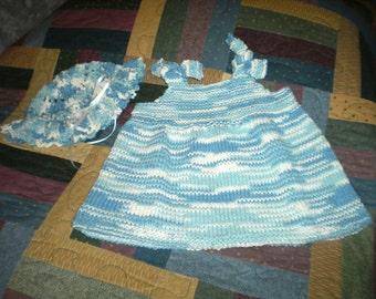 12 Months Knit Cotton Dress / Jumper and Hat Set