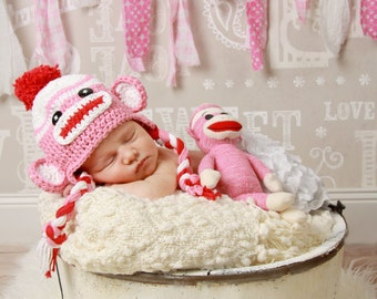 Newborn sock monkey hat, valentine photo prop, baby sock monkey hat, pink sock monkey hat, toddler sock monkey hat, newborn photo prop