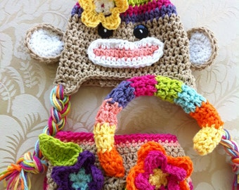 Colorful sock monkey hat and diaper cover Crochet rainbow sock monkey hat Newborn photography prop the sock monkey costume