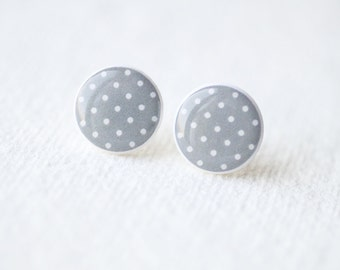 Gray and White Polka Dot Stud Earrings - BUY 2 GET 1 FREE