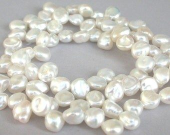 White Keishi pearls, freshwater pearls, side drilled 6mm to 7mm baroque, beautiful luster, bridal pearls