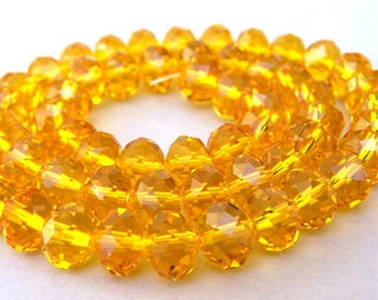 20 golden crystal beads, 8mm yellow gold rondelles, Chinese crystal