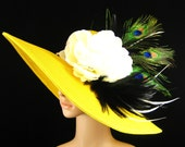 Yellow Kentucky Derby Hat with peacock feathers Tea Party Hat Wedding Hat Dressy Hat Kentucky Derby Hat Big Brim Horse Race Ascot