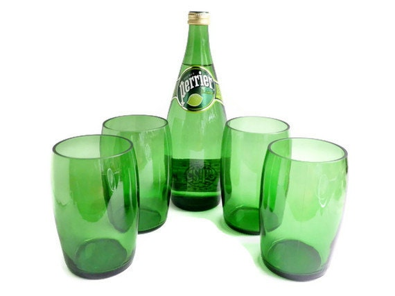 Perrier water glasses stemless wine pint glass candle holders for Diy mineral water bottle