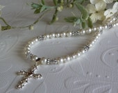 First Communion Swarovski Pearl Crystal Cross Pendant Special Occasion Girl's Necklace