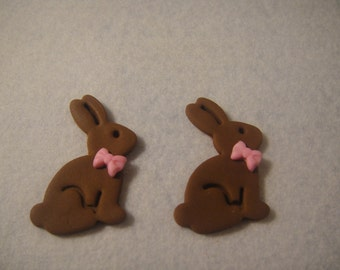 Cute Little Chocolate Bunny Fondant Cupcake Toppers -