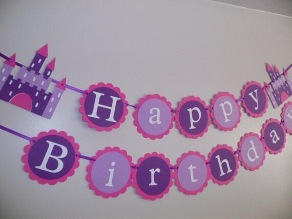 Happy Birthday Princess Castle Birthday Banner Purple Banner
