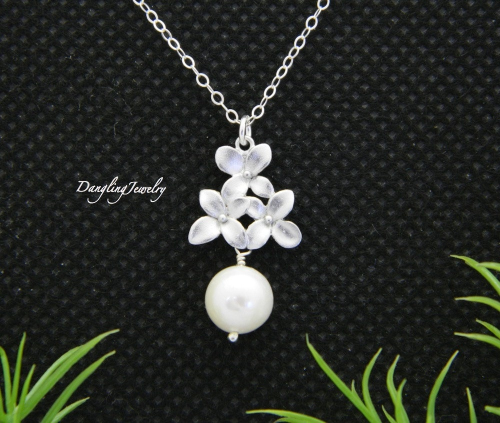 cherry blossom necklace pearl necklace bridesmaid gifts