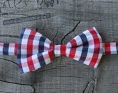 Red, White & Blue Gingham little boy bow tie - photo prop, wedding, ring bearer, accessory