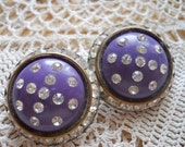 Purple and Rhinestone Clipon Earrlings - Vintage, Collectible
