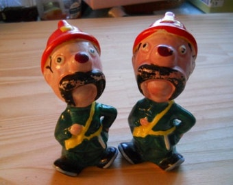 Keystone Cop Salt and Pepper Shakers - Vintage, Collectible