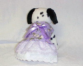 """Dog Harness Vest Doggie Dress Skirt Combination Size Small 14"""" Chest Lavender Daisy Ready To Ship"""