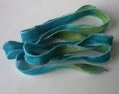 Silk Fairy Ribbons - Hand Dyed Painted Habotai Silk Wrap Bracelet - teal lime- DIY Bracelet - Jewelry Supply - silk bracelet
