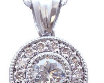 14k white gold round cut diamond bezel set antique style necklace 0.61ctw