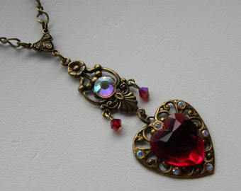 Red Heart Necklace with Swarovski Victorian Necklace, ©2016DonnaJameson
