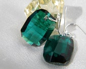 Sterling Silver emerald graphic swarovski earrings