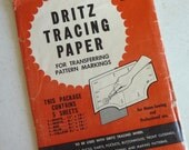Dritz Tracing Paper, vintage 1954, sewing supplies, colored waxy sheets, John Dritz and Sons, transfer markings, dressmakers, carbon paper
