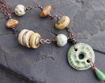 Copper Wrapped Stoneware Beads with Handmade Chain Necklace AWMember