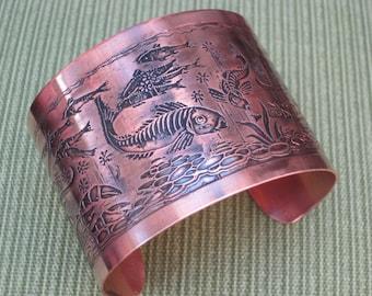 Etched Copper Koi Cuff