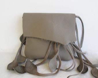 tan taupe leather handbag, hip bag belt bag with leaf fringe  by Tuscada. Made to order.