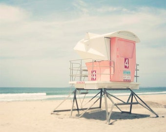 "Beach Photography, Lifeguard Tower, Pastel Beach Decor, California Beach Art, San Diego, Pink Blue Wall Art ""Tower Number 4"""