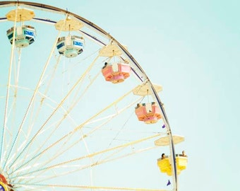 "Carnival Photography, Ferris Wheel Art, Nursery Room Decor, Pastel Bright Colorful, Children Room Wall Art, Summer  ""A Day At The Fair"""