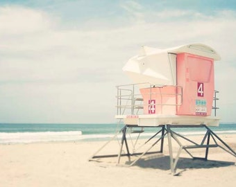 "Beach Photography, Pink Lifeguard Tower, San Diego California, Large Wall Art,  Pastel, Summertime, ""Tower #4"""