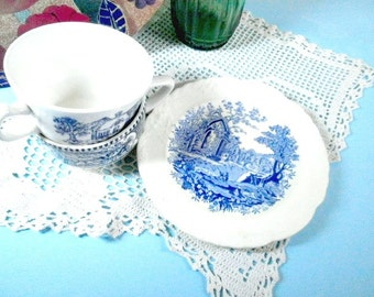 Shabby Old Blue & White Teacups with Cookie Plate, Tea Time Serving Ware, Shabby Old Dishes, Old Table Decor