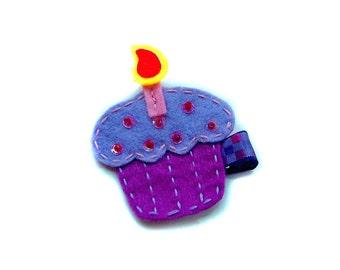 Happy Birthday cake Felt hair clip / felt hairclip / baby girl hairclip / girl hair clip / barrette...