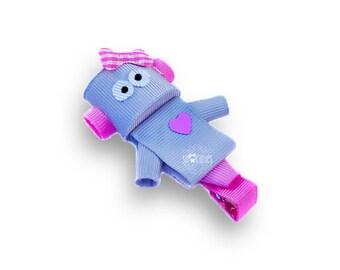 Robot ribbon sculpture hair clip / baby hair clip / girl hair clip / barrette...