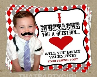 I MUSTACHE you a question Valentine's Day Cards - with background removal