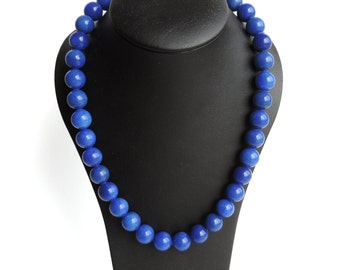 Cobalt Blue Necklace - Royal Blue Chunky Bead Necklace - Bright Blue Stone Jewelry - Blue Calcite Necklace