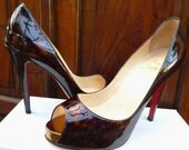 Reserved..Vintage Authentic Christian Louboutin Tortoise Patent Leather Platform Peeptoe Heels. 37.5 Excellent Condition.