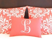 Coral Pillow Shams with Monogram Pillow - Coral Bedding - Coral Damask Sham - Coral White Bedding - Personalized Pillow - Coral Pillowcase