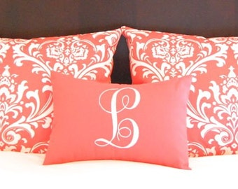Master Bedroom Decor - Pillow Shams with Monogram Pillow - Coral Bedding - Coral Damask Sham - Personalized Pillow - Coral Pillowcase