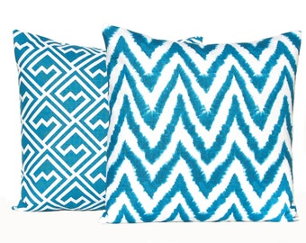 Throw Pillow Covers - Turquoise Pillow Covers - 20 X 20 Set of Two - Deep Turquoise on White - Teal Pillow Covers - Turquoise Chevron