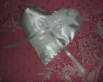 Wedding Ring Pillow with Blue Bow Detail and Lace
