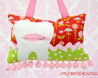 Tooth Fairy Pillow- In Love Birds by My Mind's Eye for Riley Blake Designs-Red Floral