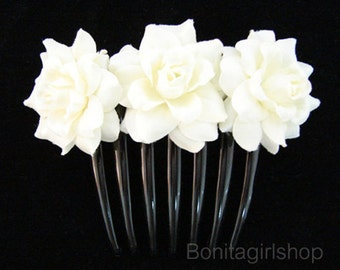 White Rose flower Hair Comb Wedding