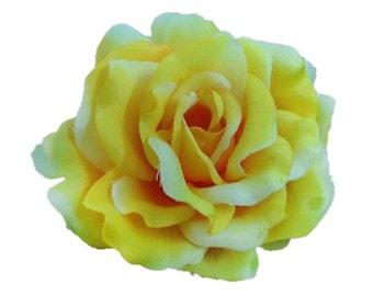 Yellow Silk Rose flower Hair Clip 3 Inch.