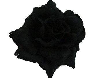 Black Rose flower Hair Clip 4 Inch.