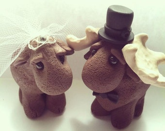 Moose Wedding Cake Topper handmade