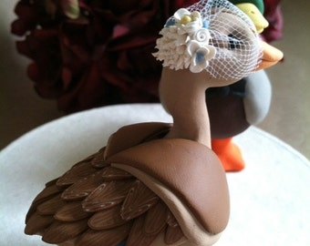 custom Mallard Duck wedding cake topper