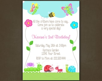 Garden Party  Birthday Invitation, Critters, Printable File, Digital File